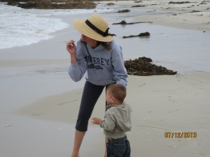Daughter and Grandson on the beach.