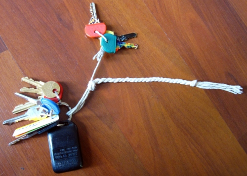 My keychain. I put my house keys as far away from the other keys as possible since they contain nickel.